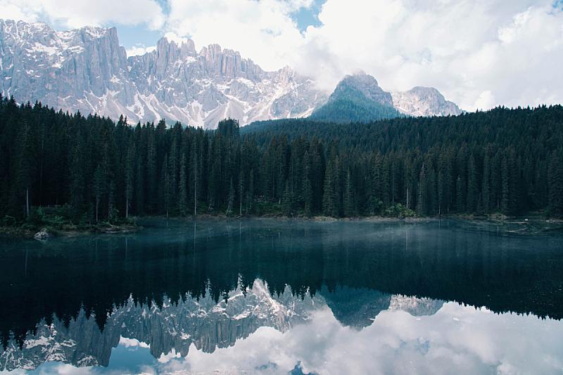 上阿迪杰,湖,多洛米蒂山脉,意大利,山,苏打,春天,绿松石色,背景,岩石