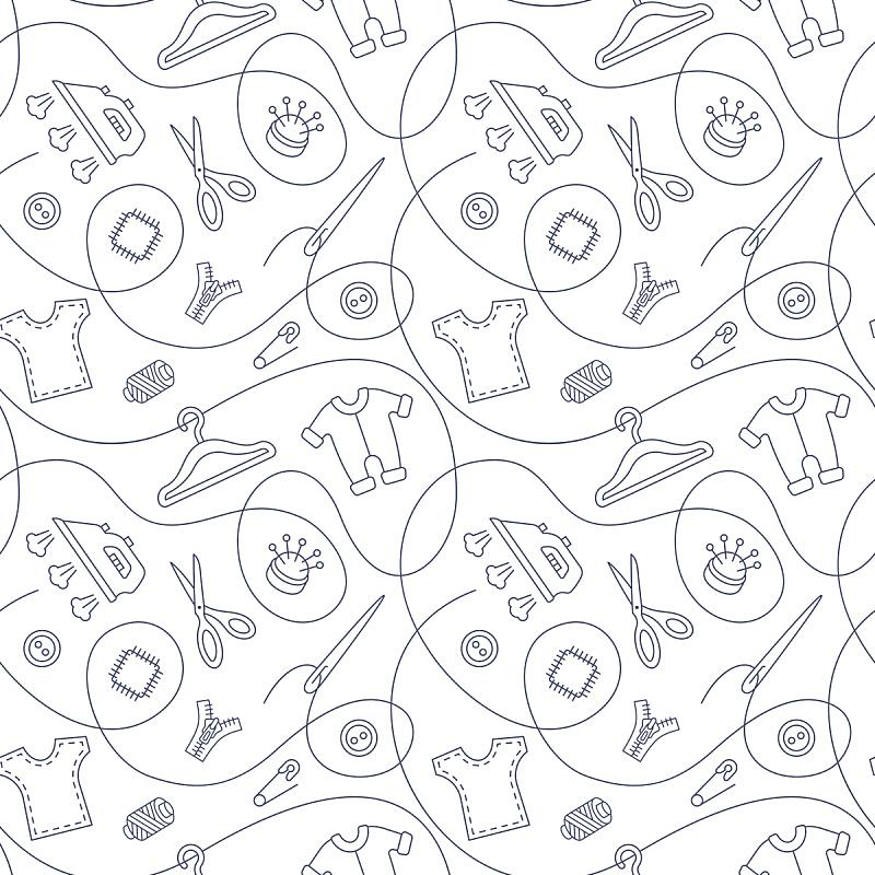 四方连续纹样,线条,设备用品,细的,无缝纹理,循环元素,衣架,纺织工业,裁缝,纺织品