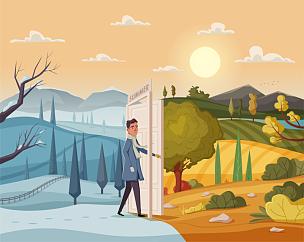 绘画插图,夏天,卡通,矢量,地形,山谷,男人,开着的,门,问候