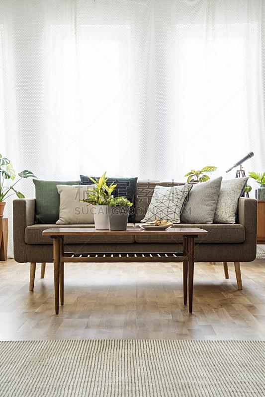 明亮,沙发,桌子,木制,室内,起居室,枕头,前面,摄影,写实
