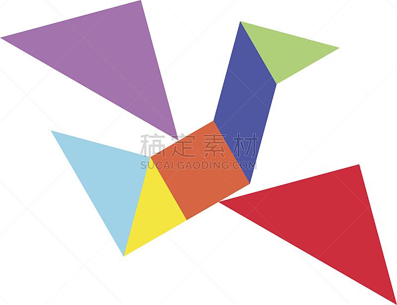 矢量,形状,鸟类,谜题游戏,多色的,白色背景,插图画家,老鹰,三角形,块状
