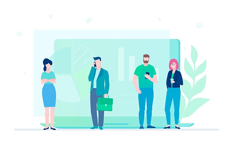 商务,绘画插图,时尚,多色的,扁平化设计,卡通,办公室,计算机,体育团队,技术