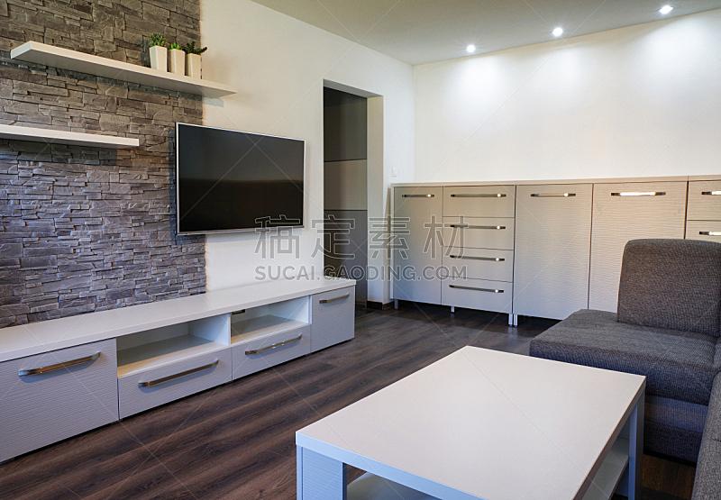 现代,起居室,住宅房间,水平画幅,木制,无人,家具,室内,住宅内部,电视机