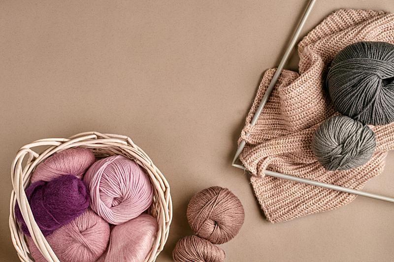 球体,羊毛,针织,米色,平视角,看风景,顶部,球,钩针编织品,水平画幅