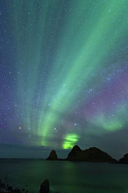 极光,天空,北挪威,海滩,在上面,梵高星空,寒冷,挪威,斯堪的纳维亚半岛,暗色