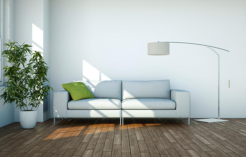 沙发,现代,室内设计师,白色,住宅房间,明亮,茶几,华贵,砖,小毯子