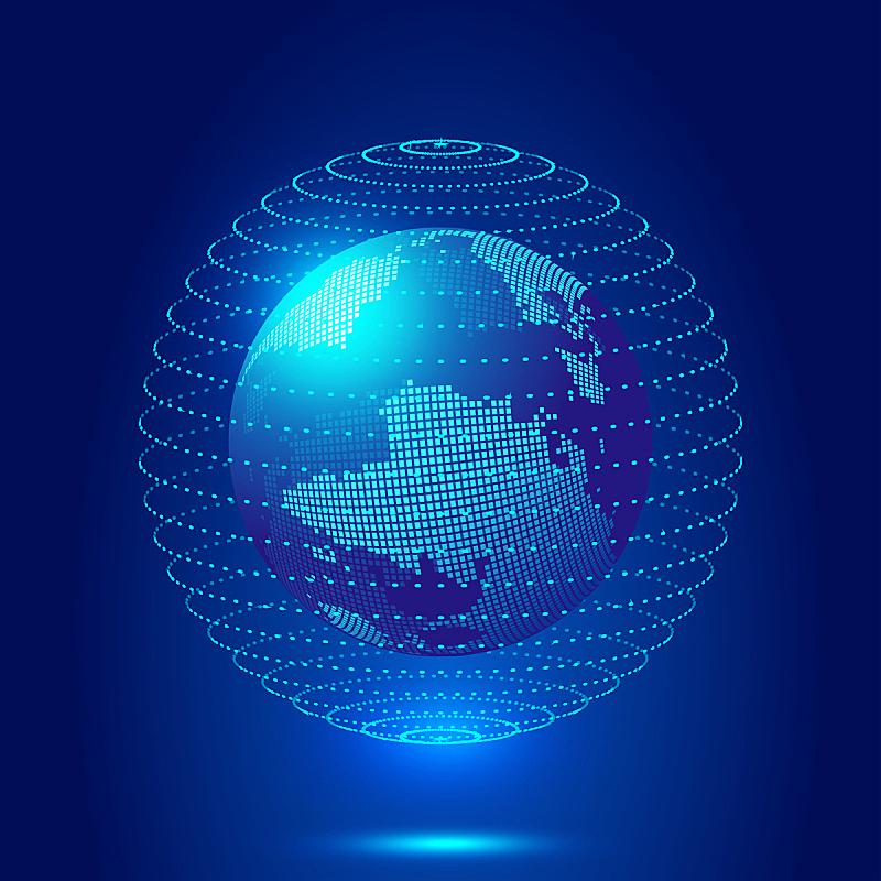 球体,粒子,地球形,技术,抽象,斑点,全球通讯,概念,三个物体,数字化显示