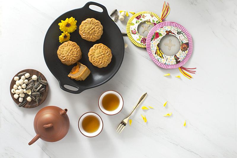 饮食,秋天,传统节日,中间,中秋节,月饼,中国茶,亮色调,中国元宵节,茶壶