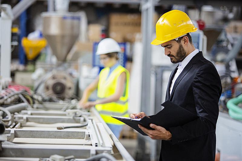 生产线,质检人员,青年人,经理,职业安全与健康,工头,工厂,工程,工程师,安全的