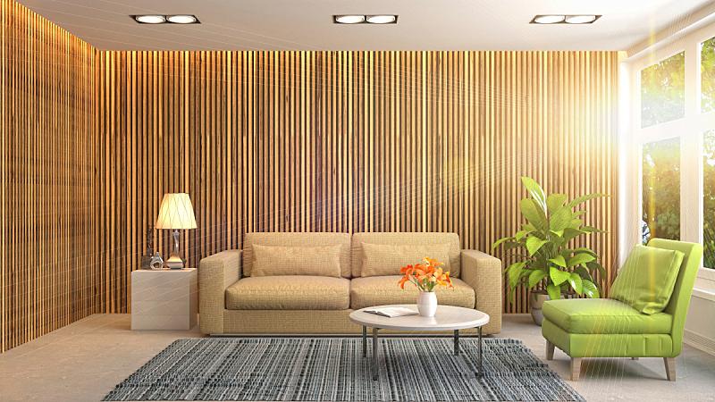 室内,起居室,三维图形,绘画插图,正面视角,褐色,座位,水平画幅,无人,灯