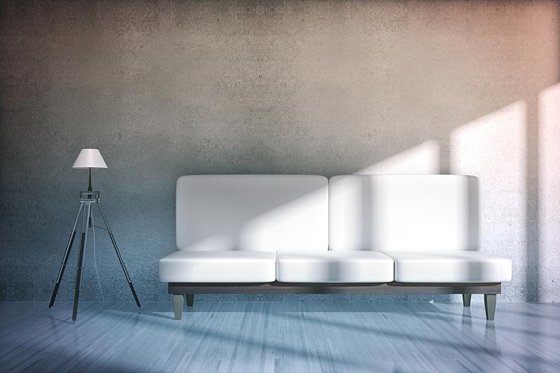 沙发,住宅房间,混凝土,水平画幅,无人,家庭生活,灯,家具,床头柜,现代