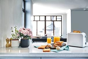 多士炉,吐司面包,光,清新,橙汁,玻璃杯,餐桌,鸡蛋,舒服,人类居住地