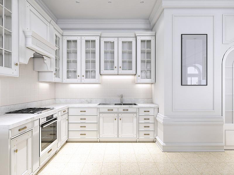华贵,厨房,大理石,简单,白色,北欧,高雅,木镶板,空的,舒服