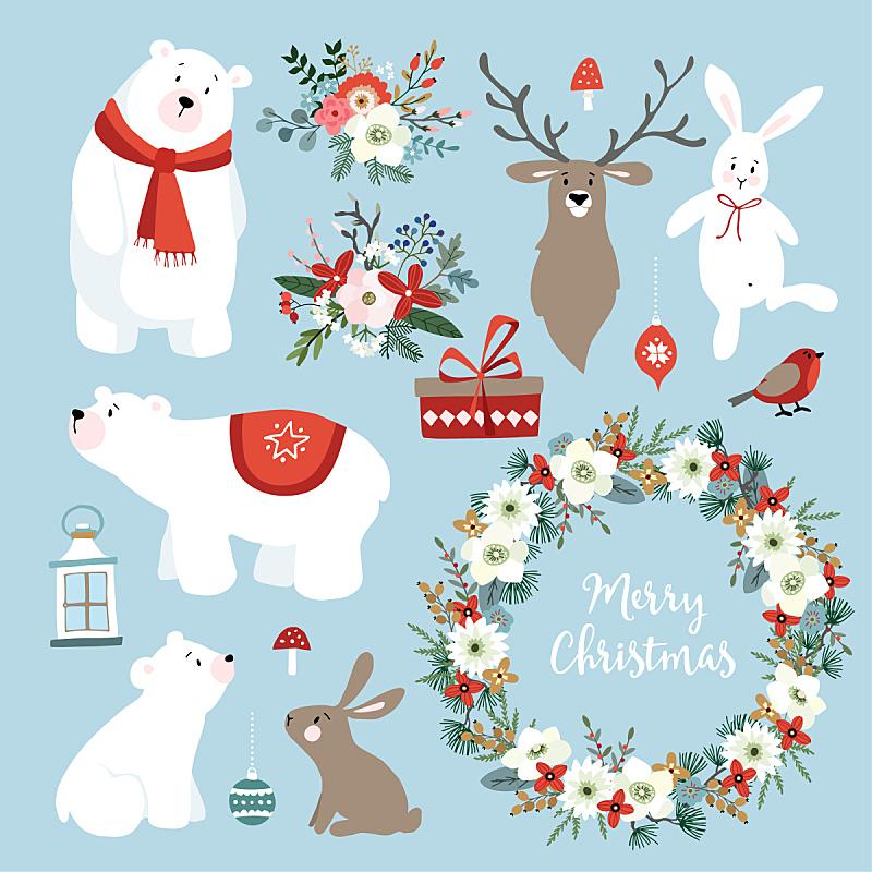 球,斯堪的纳维亚人,冬天,矢量,可爱的,兔子,组物体,北极熊,花环