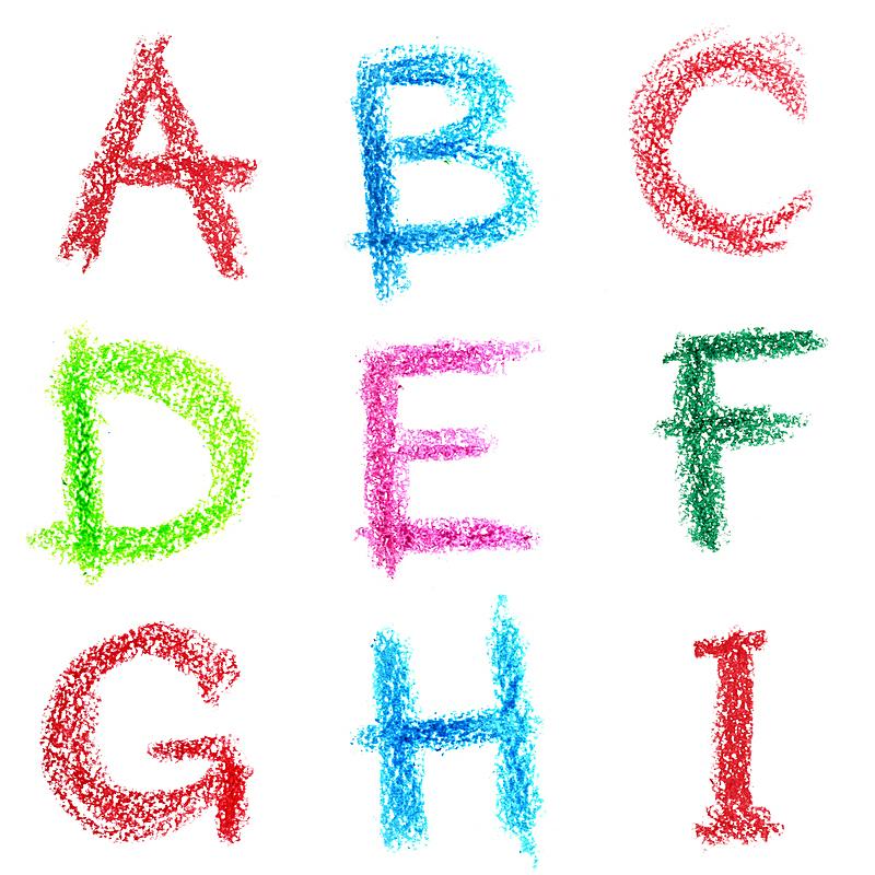 英文字母i,字母,蜡笔,白色背景,英文字母b,背景分离,字母表次序,英文字母j,肖像,图像