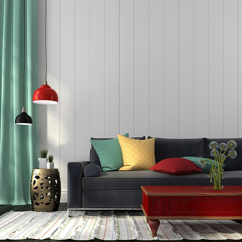 沙发,时尚,桌子,红色,室内,深蓝,墙,无人,古典式,家庭生活