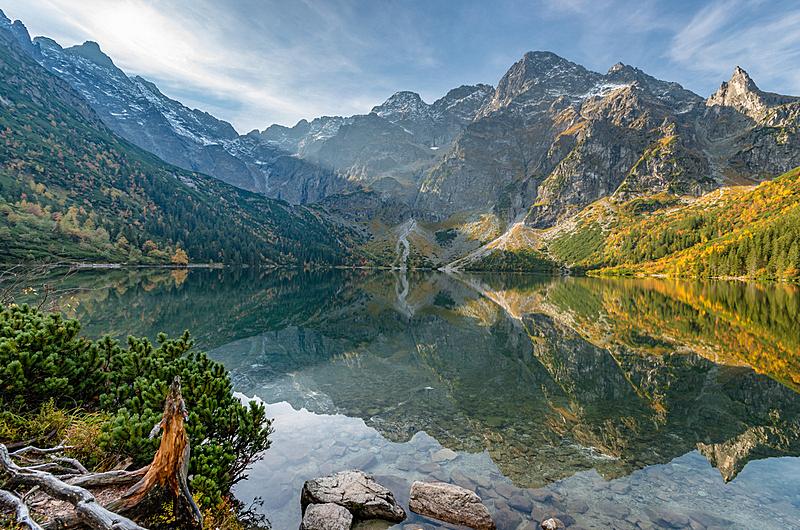 早晨,湖,波兰,秋天,塔特里山脉,水,天空,水平画幅,云,山