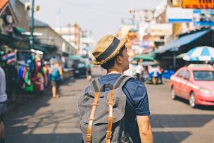 考山路,背包族,市场,户外,青年人,旅游目的地,曼谷,泰国,货摊,旅途
