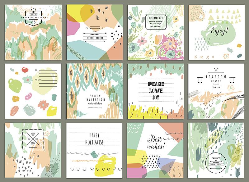 贺卡,创造力,数字12,动物手,纹理,全球通讯,水彩颜料,彩色蜡笔,蜡笔画,毛毡制品