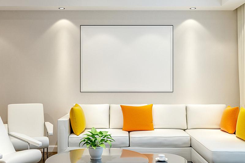 相框,墙,空白的,枕头,水平画幅,无人,椅子,绘画插图,干净,现代