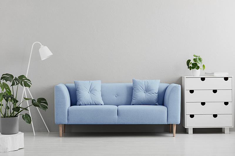 灯,沙发,白色,灰色,蓝色,柜子,室内,起居室,在之间,摄影
