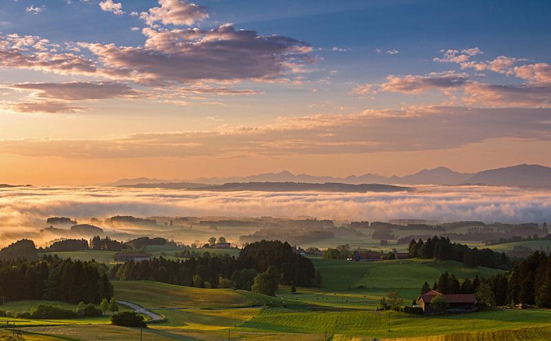 巴伐利亚,山,黎明,德国,天空,雷史谷,水平画幅,云,无人,早晨