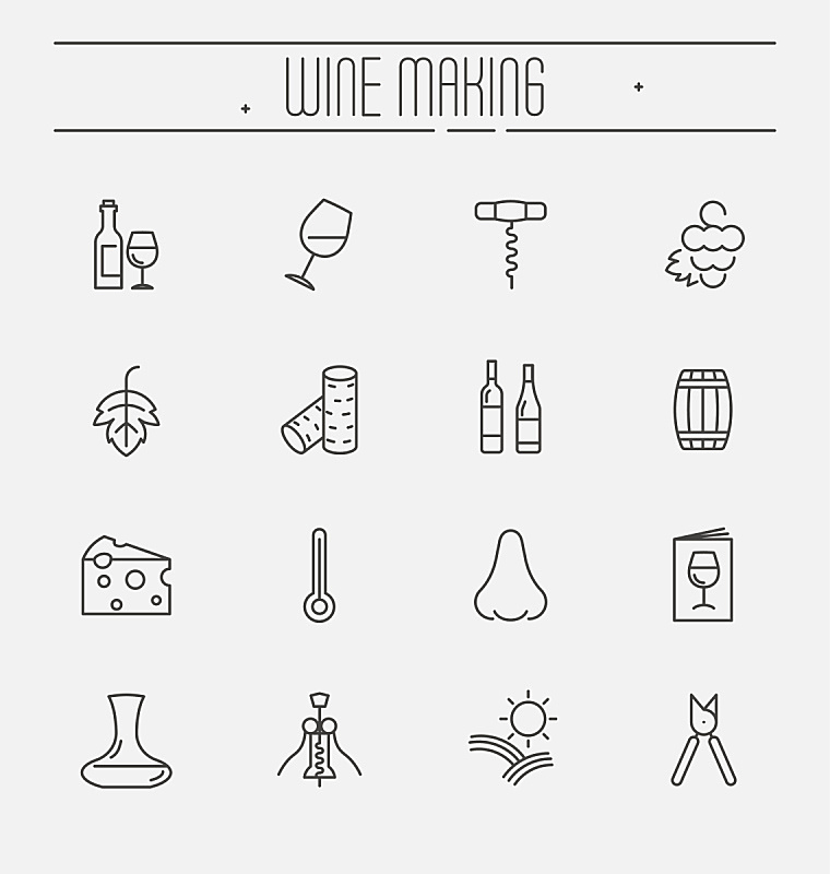 葡萄酒,计算机图标,细的,矢量,成一排,绘画插图,白色背景,分离着色,做,布置