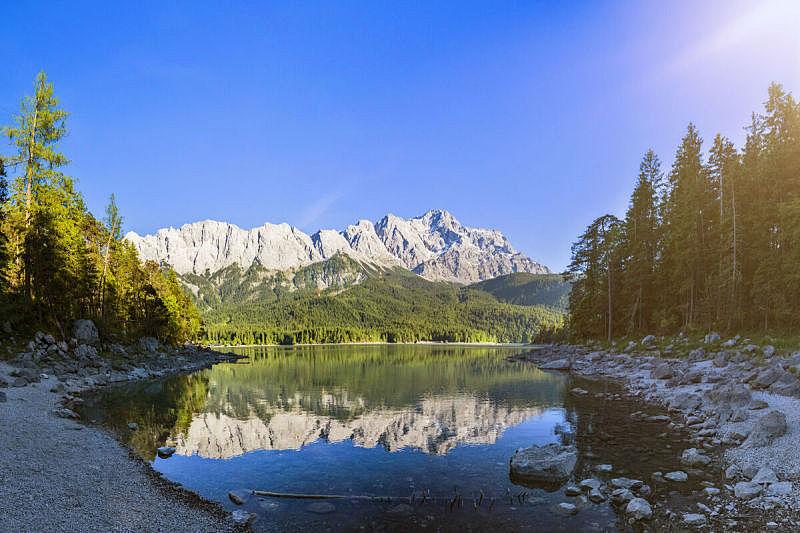 艾博湖,楚格峰,加米施帕腾基兴,巴伐利亚,全景,德国,湖,风景,水,天空
