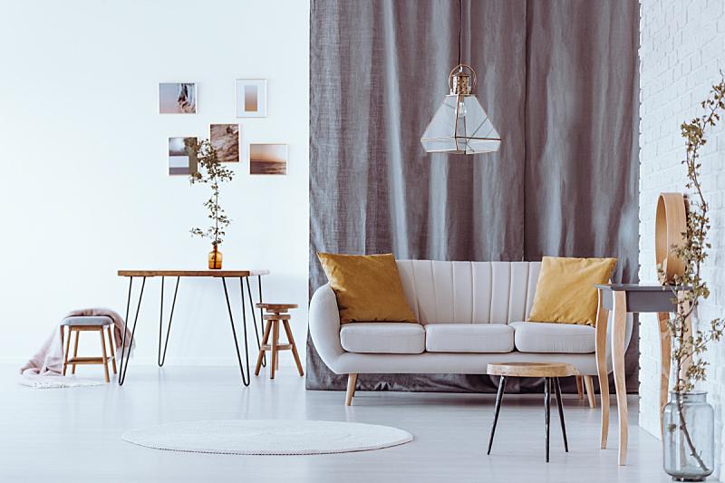 软垫,沙发,黄色,发夹,花瓶,米色,嫩枝,悬挂的,长椅,毯子