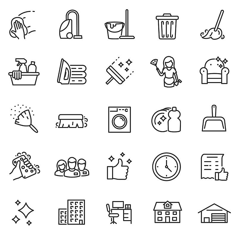 图标集,垃圾,清洗剂,绘画插图,符号,家庭生活,真空吸尘器,组物体,扫帚,干净