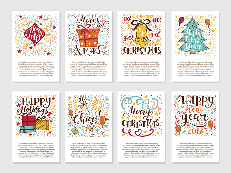 贺卡,铃,十二月,节日,非西方字母,单词,式样,标签,圣诞树