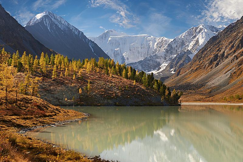 地形,秋天,俄罗斯,阿尔泰山脉,自然美,水,天空,雪,夏天,湖