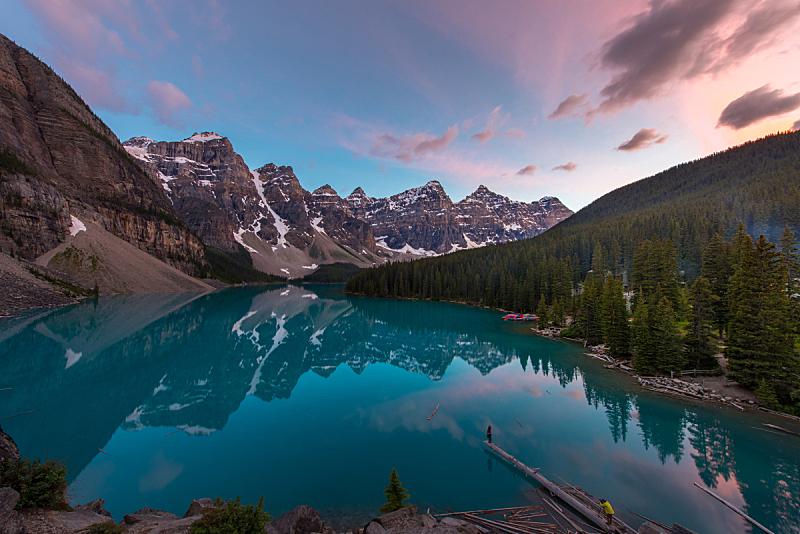 摄影师,湖,天空,山,模型,自然美,梦莲湖,反射,日落,取得