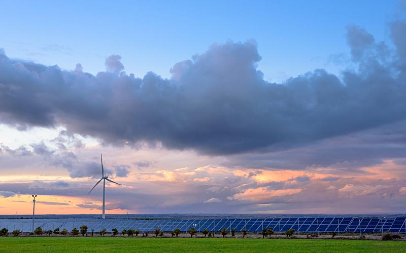 替代能源,电缆,太阳能电池板,水平画幅,风力,能源,无人,格子,涡轮,电源