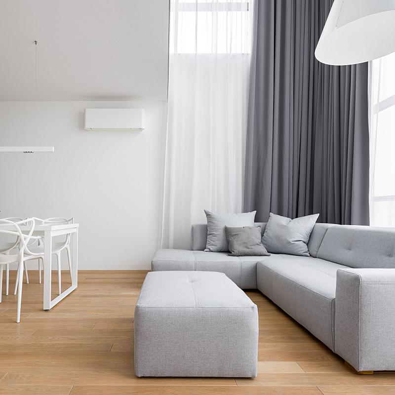 起居室,极简构图,空的,窗帘,茶几,照明设备,华贵,舒服,边框,灰色