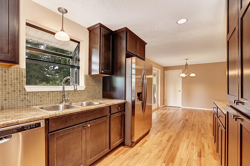 柜子,室内,厨房,褐色,花岗岩,冰箱,新的,水平画幅,墙,无人
