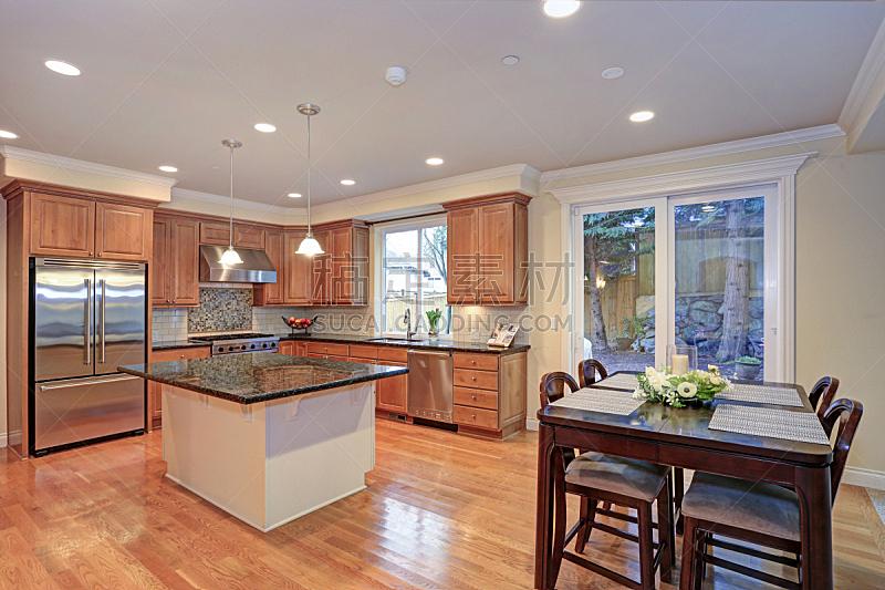 华贵,厨房,用具,新的,水平画幅,无人,巨大的,天花板,家具,干净