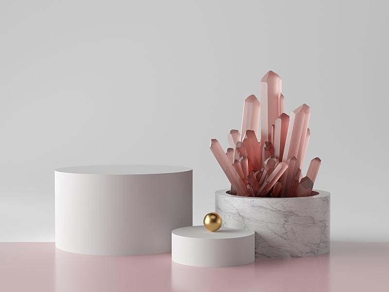 圆柱体,装饰物,矿块,背景,三维图形,大理石装饰效果,时尚,极简构图,高雅,空白的