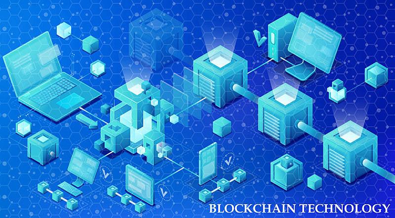 绘画插图,技术,矢量,区块链,链,未来,笔记本电脑,水平画幅,形状,智慧