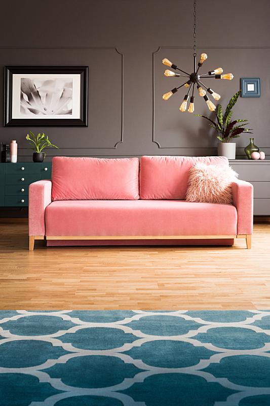 软垫,格子棚,沙发,现代,摩洛哥,起居室,粉色,灯,地毯,室内