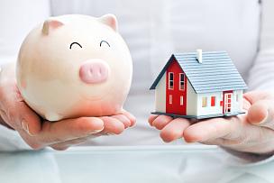 小猪扑满,手,拿着,房屋,模型,业主,储蓄,水平画幅,房地产经纪人
