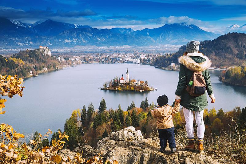 湖,布雷得,斯洛文尼亚,旅游目的地,欧洲,看,家庭,旅行者,男性