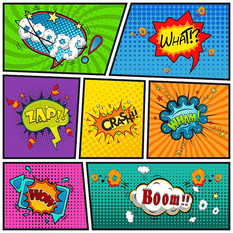 幽默,线条,背景,对话气泡框,通俗音乐人,基本粒子,分界线,卡通,非凡的,艺术