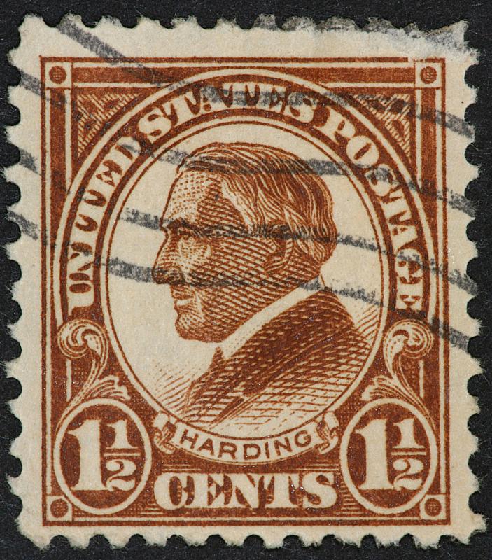 沃伦g哈定,垂直画幅,褐色,美国,侧面像,古老的,古典式,邮戳,彩色图片