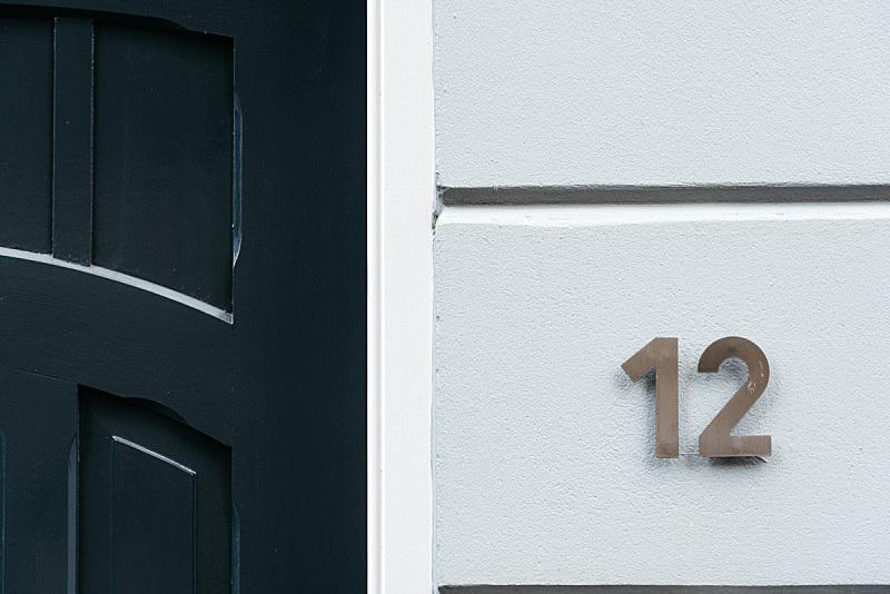 数字12,门,简单,高雅,绿色,门环,正面视角,边框,水平画幅,墙