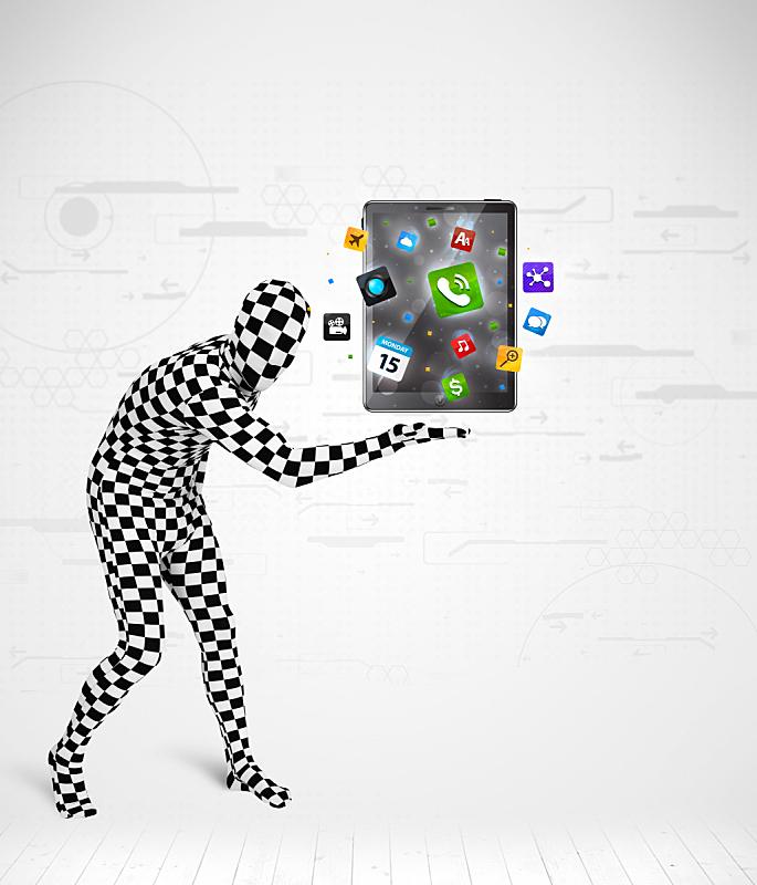 平板电脑,充满的,男人,紧身连衣裤,垂直画幅,球,消息,性格,套装,齿轮