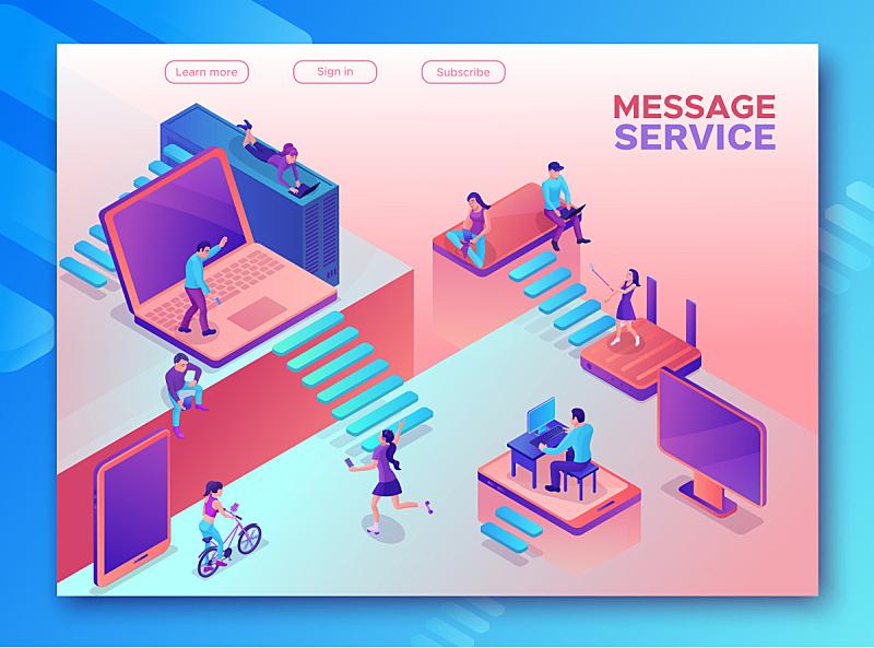 消息,绘画插图,书页,现代,模板,人,移动应用程序,概念,手机,沟通
