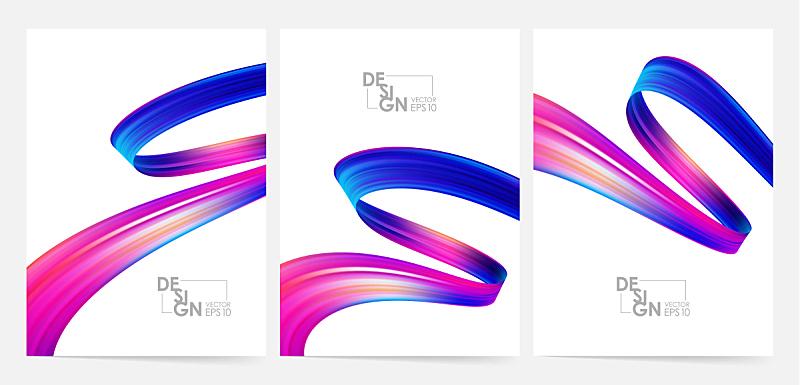 三维图形,绘画插图,液体,多色的,矢量,式样,形状,流动,缠绕
