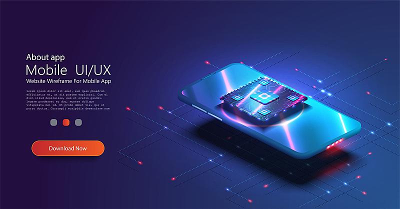 数字化显示,现代,概念,电话机,中央处理器,未来,数据,电脑芯片,蓝色,设计