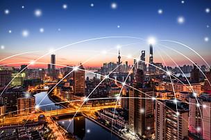 城市,上海,天空,留白,未来,高视角,夜晚,都市风景,现代,国际著名景点